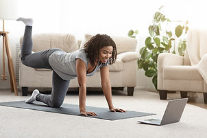 Online Training. Fit Young Woman Excersi