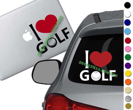 I Love Golf - Vinyl Decal Sticker - For cars, golf carts,  laptops, and more!