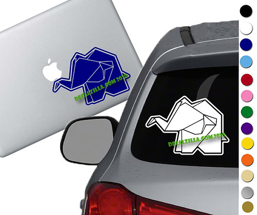 Origami Elephant - Vinyl Decal Sticker - For cars, laptops, and more!