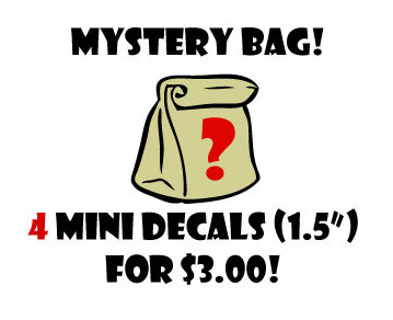 "Mystery Bag - 4 - 1.5"" Mini Vinyl Decal Stickers For laptops and more!"