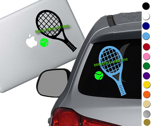 Tennis Racket - Vinyl Decal Sticker - For cars, golf carts, laptops and more!