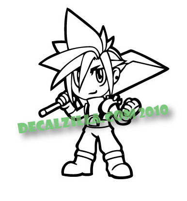 Sale! Final Fantasy Cloud -Vinyl Decal Sticker For cars, laptops, and more!