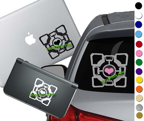 """Sale! 1.5"""" Companion Cube -Mini Vinyl Decal Sticker For laptops, and more!"""