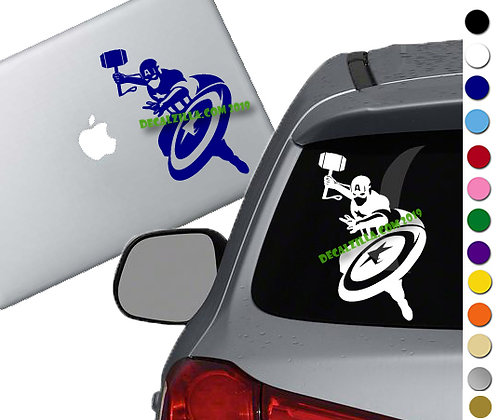 Captain America with Mjölni - Vinyl Decal Sticker - For cars, laptops, and more!