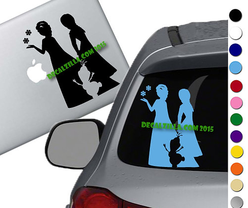 Frozen - Anna  Elsa Olaf - Vinyl Decal Sticker - For cars, laptops, and more!