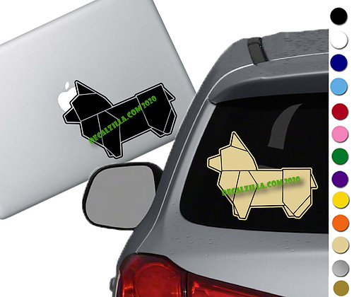Origami Corgi - Vinyl Decal Sticker - For cars, laptops, and more!
