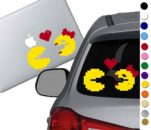 Pac Man and Mrs. Pac Man - Vinyl Decal Sticker - For cars, laptops, and more!