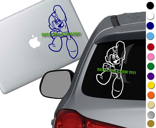 Mega Man Jump - Vinyl Decal Sticker - For cars, laptops and more!