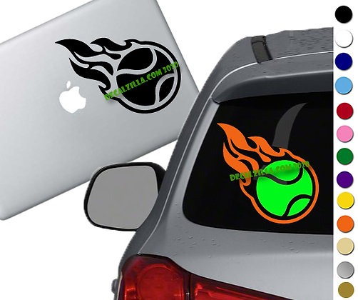 Tennis Ball on Fire -Vinyl Decal Sticker -For cars, golf carts, laptops and more