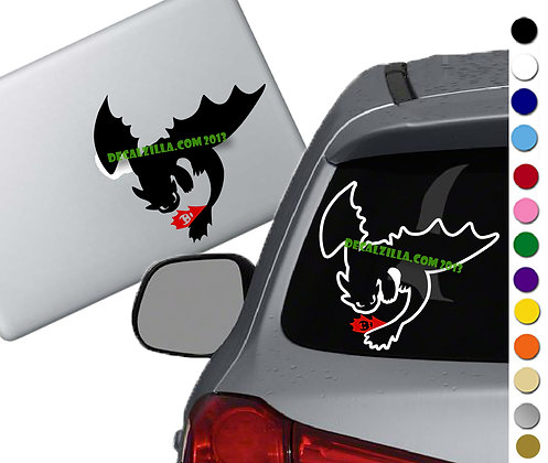 How to Train your Dragon- Flying Toothless -red tail - Vinyl Decal - For cars