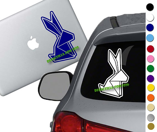 Origami Rabbit / Bunny - Vinyl Decal Sticker - For cars, laptops, and more!