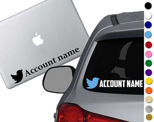 Custom Twitter Account - Vinyl Decal Sticker - For cars, laptops, and more!