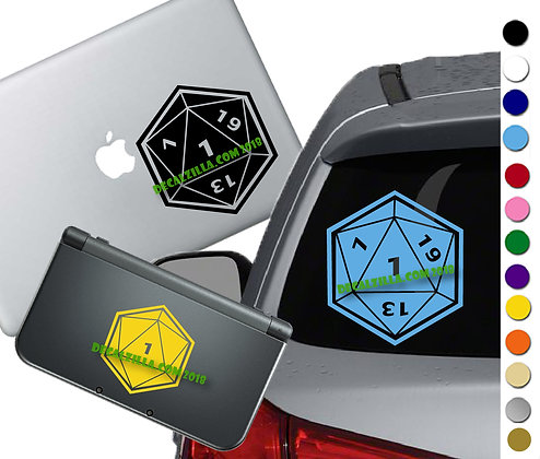 D20 Dice - 1 Roll - Vinyl Decal Sticker For cars, laptops, and more!