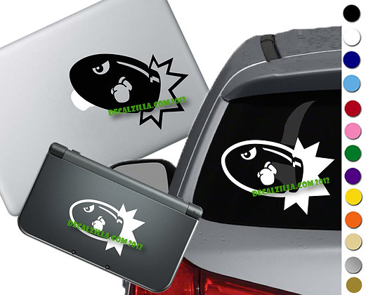 Mario Bullet Bill - Vinyl Decal Sticker For cars, laptops, and more!