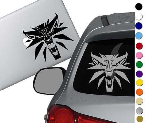 Witcher Wolf Medallion- Vinyl Decal Sticker - For cars, laptops, and more!
