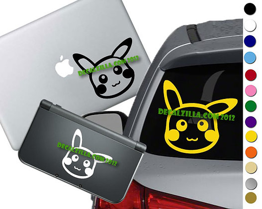 Pokemon - Pikachu Face - Vinyl Decal Sticker For cars, laptops, and more!