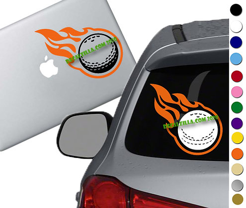Golf Ball on Fire- Vinyl Decal Sticker - For cars, golf carts, laptops and more!