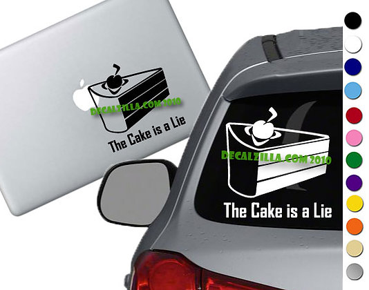 Portal- The Cake is a Lie - Vinyl Decal Sticker - For cars, laptops, and more!