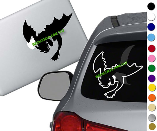 How to Train Your Dragon- Toothless Silhouette - Vinyl Decal Sticker - For cars