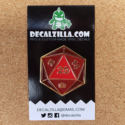 D20 - Red Dice - Hard Enamel Pin For Clothes, Backpacks and more!