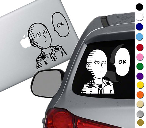 One Punch Man Ok With Lines- Vinyl Decal Sticker - For cars, laptops, and more!