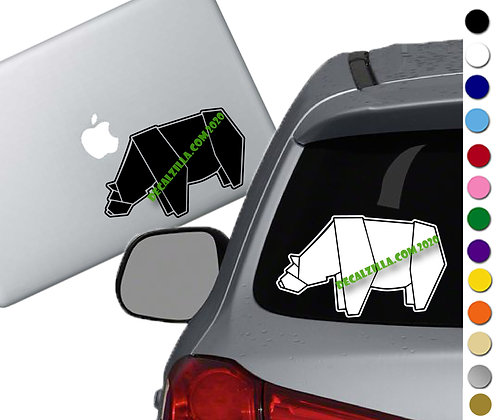 Origami Bear - Vinyl Decal Sticker - For cars, laptops, and more!