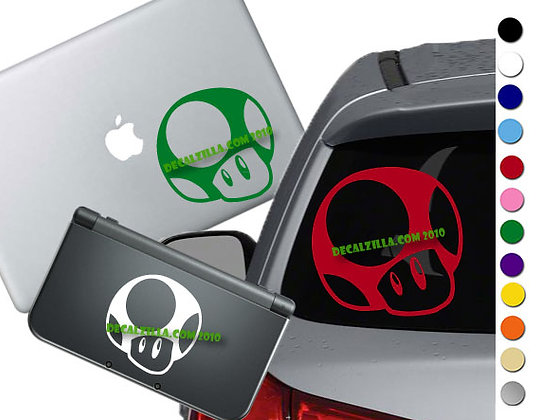 Mario Mushroom - Vinyl Decal Sticker For cars, laptops, and more!