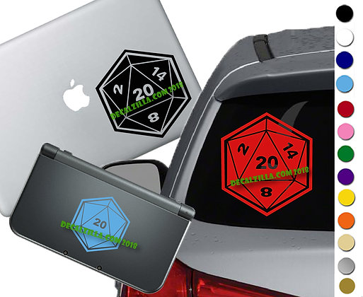 D20 Dice - 20 Roll - Vinyl Decal Sticker For cars, laptops, and more!