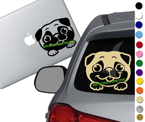 Dog - Pug Peeker - Vinyl Decal Sticker - For cars, laptops and more!