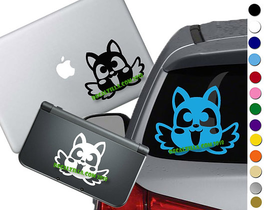 Cheerful Cat Face - Vinyl Decal Sticker For cars, laptops, and more!