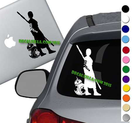 Star Wars - Rey and BB8 - Vinyl Decal Sticker - For cars, laptops and more!
