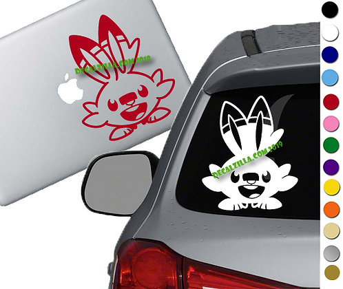 Pokemon- Scorbunny - Vinyl Decal Sticker - For cars, laptops and more!