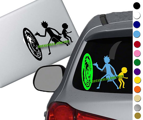 Rick and Morty with Portal - Vinyl Decal Sticker - For cars, laptops, and more!