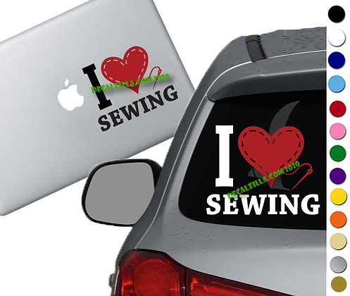 I Love Sewing - Vinyl Decal Sticker - For cars, laptops, and more!