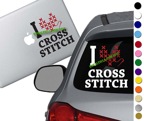 I Love Cross Stitch - Vinyl Decal Sticker - For cars, laptops, and more!