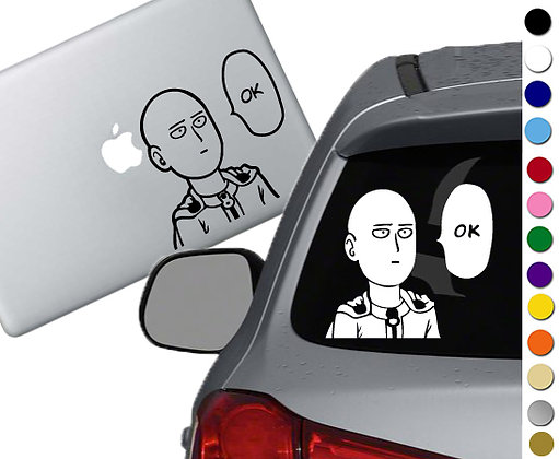 One Punch Man Ok - Vinyl Decal Sticker - For cars, laptops, and more!