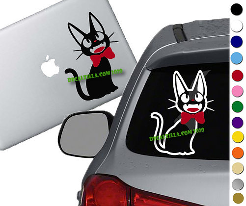 Kiki's Delivery Service Jiji with Bow - Vinyl Decal Sticker - For cars and more!
