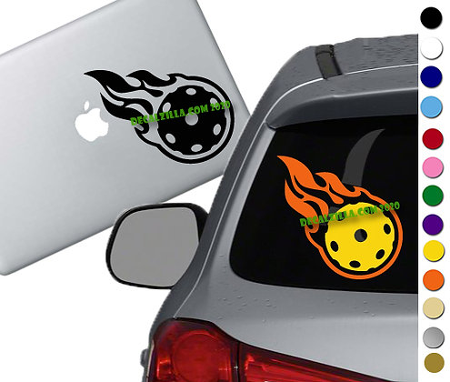 Pickleball on Fire -Vinyl Decal Sticker -For cars, golf carts, laptops and more!