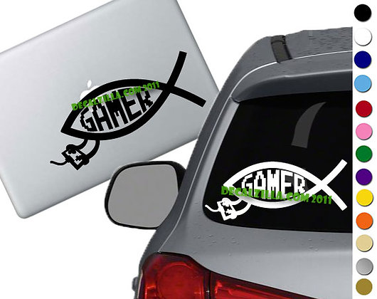 Gamer Fish - Vinyl Decal Sticker - For cars, laptops, and more!