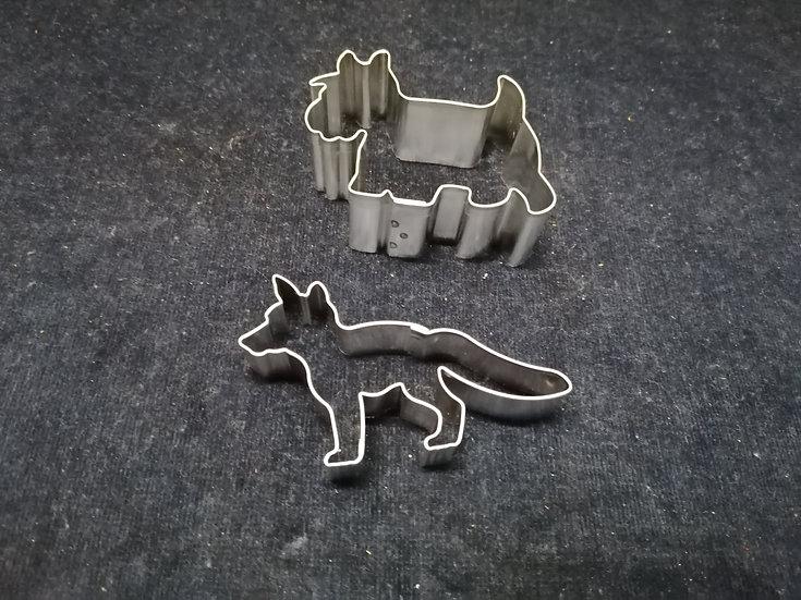 Ausstecher Hund und Fuchs