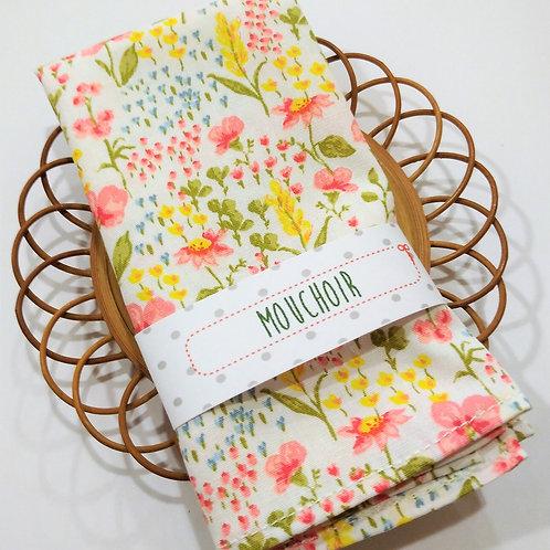 Mouchoir fleurs fond blanc