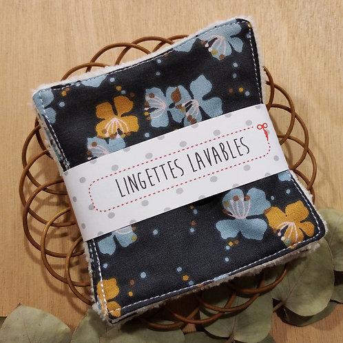 Lingettes lavables fleuries