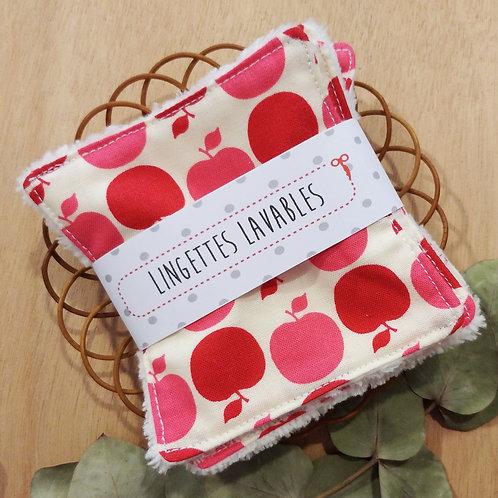 Lingettes lavables pommes