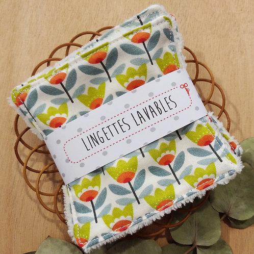Lingettes lavables fleurs stylisées
