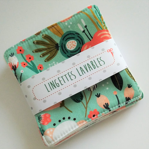 Lingettes lavables fleurs fond vert