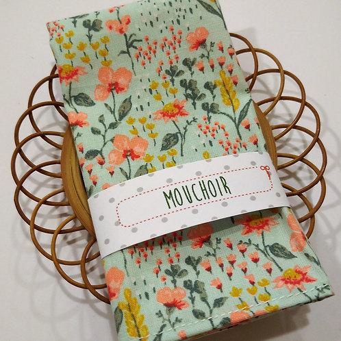 Mouchoir fleurs fond vert d'eau