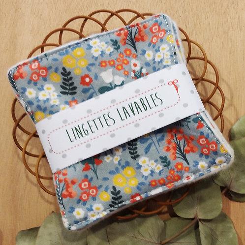 Lingettes lavables fleurs