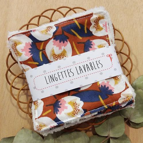 Lingettes lavables tulipes stylisées