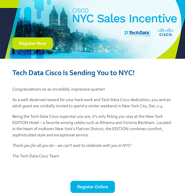 Tech Data Cisco NYC Trip Invite