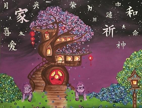 """China Magic"", 3' x 4' canvas painting"